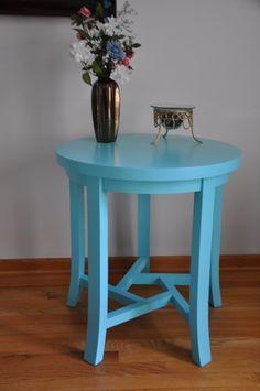 Aqua Round Side Table by AtticSeekers on Etsy, $149.00