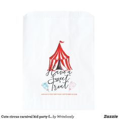 Cute circus carnival kid party favor bag This is a cute circus carnival kid party favor bag. Perfect for different snacks and treats for your carnival theme brithday party. It has different carnival illustrations and text you can customize. Circus Carnival Party, Carnival Themes, Carnival Birthday, Party Themes, Party Favor Bags, Birthday Party Favors, Birthday Parties, 8th Birthday, Wedding Favors