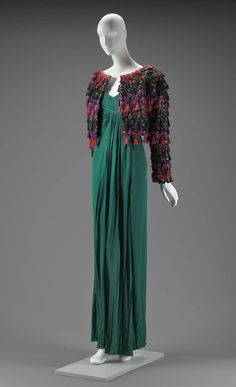 Fall 1989, America - Woman's evening dress by Arnold Scaasi - Silk trim and tassels; silk plain weave