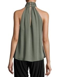 Haute Hippie Halter-neck Side-tie Morrison Blouse In Green Lace Up Tank Top, Sewing Blouses, Stylish Work Outfits, Haute Hippie, Dressy Tops, Blouse Styles, Beautiful Outfits, Couture, Fashion Dresses