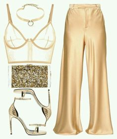 A fashion look from January 2017 featuring Etro pants, La Perla bras and Yves Saint Laurent sandals. Browse and shop related looks. Fashion Killa, Look Fashion, Fashion Outfits, Womens Fashion, Fashion Trends, Classy Outfits, Stylish Outfits, Night Out Outfit, Looks Chic