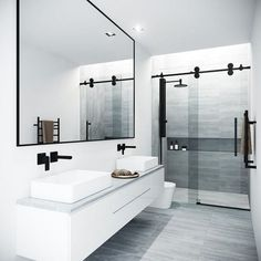 Beautiful master bathroom decor a few ideas. Modern Farmhouse, Rustic Modern, Classic, light and airy master bathroom design a few ideas. Bathroom makeover suggestions and master bathroom remodel tips. Bathroom Layout, Modern Bathroom Design, Bathroom Interior Design, Minimal Bathroom, Tile Layout, Contemporary Bathrooms, Modern Luxury Bathroom, Luxurious Bathrooms, Simple Bathroom