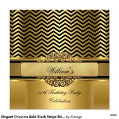 Elegant Chevron Gold Black Stripe Birthday Party Invitation