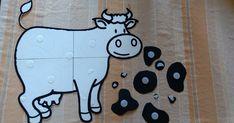 """Maandag was koe """"Vlekkie"""" (zoals de kinderen hem noemen) op bezoek. Vlekkie was al zijn vlekken kwijt en durfde zich niet aan de klas te lat... Farm Animals Preschool, Farm Lessons, Diy And Crafts, Crafts For Kids, Farm Unit, Farm Theme, Class Activities, Fine Motor, Snoopy"""