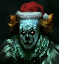 """So I was doing a quick and speedy expression study, but then I remembered that I was supposed to be doing """"Happy fun Christmas time!"""" not scary stuff. So I did a last minute fix that I think really. Clown Horror, Creepy Clown, Scary Movies, Horror Movies, Horror Villains, Horror Books, Scary Funny, Funny Horror, Christmas Paintings On Canvas"""