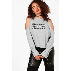 Boohoo Plus Emma Feminism Open Shoulder Sweat Top ($16) ❤ liked on Polyvore featuring tops, pastel crop top, jersey crop top, off-shoulder crop tops, bralette tops and bralet tops