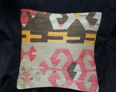 Vintage Turkish Handwoven Kilim Pillow Cover 16x16free by Cultere, $42.00