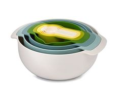 Joseph Joseph opal Nest 9 Plus - 9 Piece Mixing Bowl Set Organise those kitchen cupboards with this clever nesting set, each item of this set