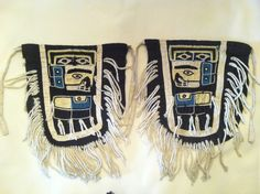 Chilkat style leggings made by Mary Ebbetts while she was traveling in a canoe. Said to be the only leggings she is known to have made. Maggie Frank collection.