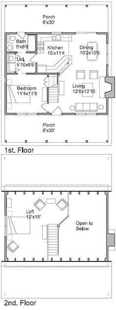 one bedroom, 15 bath cabin with wrap around porch and screened - one bedroom house plans