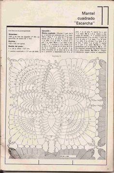"""#155 Mantel Cuadrado """"Escarcha"""" a Crochet o Ganchillo"""