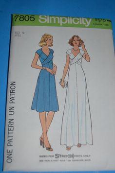 VIntage 70s Simplicity 7805 Misses Dress in by DestinedRendezvous