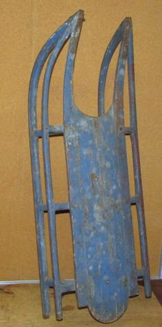 A Wonderful 19th C Child's Sled In The Absolute Best Robins Egg Blue Paint