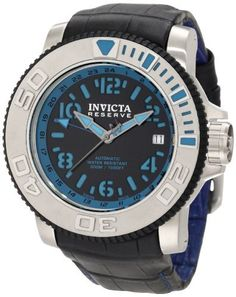 Invicta Men's 1130 Reserve Automatic Black Dial Black Leather Watch Invicta. $990.00. Flame-fusion crystal; brushed stainless steel case; black leather strap with blue leather backing and blue contrast stitching. Water-resistant to 300 M (984 feet). Black dial with black and blue hands, blue hour markers and arabic numerals; luminous; unidirectional bezel with black rubber coin edge and stainless steel ring; screw down crown; exhibition case back. Precise 24 jewels swiss automa...