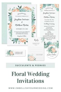 These wedding invitations feature succulents and peach peonies in a watercolor design. Visit our website to see the full range of matching wedding stationery. #wedding #weddings #weddinginvitations #weddinginvites #weddingstationery #weddinginvitationsuite #succulentwedding #succulentweddinginvitation #peonywedding #peonyweddinginvitations