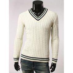 Slimming Stripes Pattern V Neck Long Sleeve Sweater