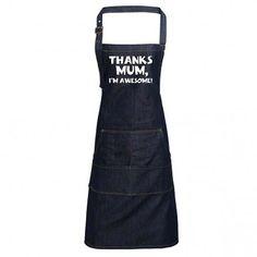 Fun Denim Cooking / BBQ Bib Apron, Thanks Mum I'm Awesome, Unisex Bib Apron, Aprons, Unique Gifts For Dad, Heat Press, Indigo, Bbq, Dads, I'm Awesome, Unisex