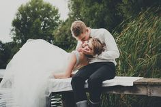 and again the lake #wedding #lake #water #bride #dress #couple #love #rubber-boot