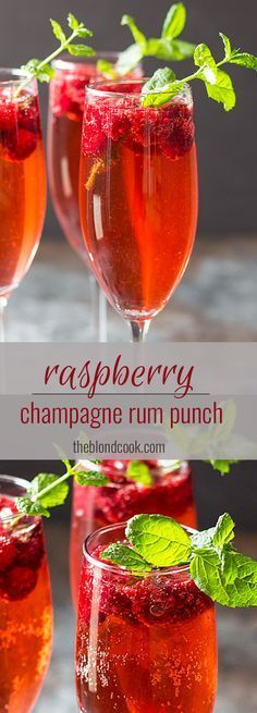 Raspberry Champagne Rum Punch - An easy and delicious cocktail perfect for New Year's! Raspberry Champagne Rum Punch - An easy champagne punch prepared with rum, ginger ale, champagne and raspberries. Holiday Drinks, Party Drinks, Cocktail Drinks, Fun Drinks, Yummy Drinks, Cocktail Recipes, Alcoholic Drinks, Champagne Punch Recipes, Wine Parties