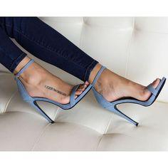 """""""Denim on denim Shop the Giselle denim sandal now www.lillyskloset.net"""""""