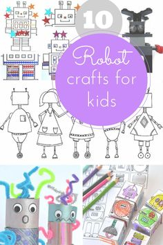 Robot crafts for kids - junk robots, collage, Lego and free printable colouring robots!