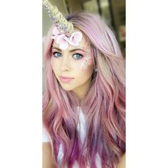 The Best 39 Unicorn Makeup Ideas to Try ❤ liked on Polyvore featuring beauty products and hair