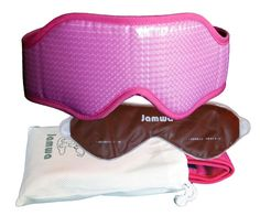Sleep Mask JAMWA-Is Pink, Included Germanium Eye-Gel Pack and Pouch for Carrying and Storage