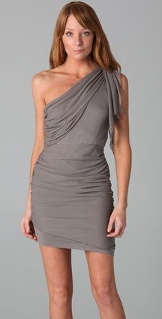 One shoulder drape dress, by Alice and Olivia. A definite yes, if the body allows.