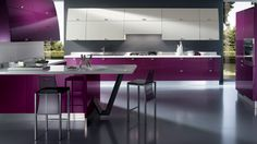 purple kitchen interior magnificent purple modern kitchen interior design with w., kitchen interior magnificent purple modern kitchen interior design with white also grey painted wall and glossy purple kitchen cabinet fancy pu. Minimal Kitchen Design, Contemporary Kitchen Design, Modern Contemporary, Contemporary Furniture, Purple Kitchen Designs, Kitchen Colors, Kitchen Layout, Modern Kitchen Interiors, Elegant Kitchens