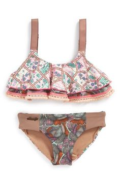 Maaji 'Royal Riders' Ruffle Bikini Top & Reversible Bikini Bottom (Big Girls) available at #Nordstrom