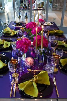 Bright and beautiful, bold shades of pink, green, blue and gold are stunning for decorating a spring or summer seasonal table.