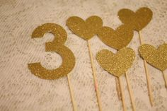 Gold sparkle cake toppers