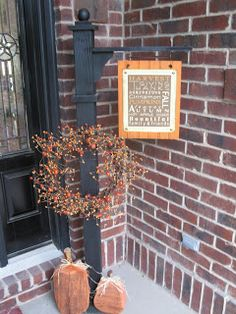Hand Crafted Furniture: Front Porch Sign and Wreath - change with season