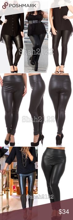 """Sexy plus size faux leather leggings high waisted price is firm‼️ retail  new without tags. New Black Faux leather leggings.Perfect fit.High waist. Medium weight, Stretchy fabric. Perfect matte faux leather finish. Fabric content : Polyester / spandex  Measurements were taken lying flat.  ➡(Inseam = 28-29"""") ➡(Total Length= 40-42"""") ➡(Rise =15""""-17"""""""")  ➡(1X Waist high to low point =14-16"""") across. ➡(2X Waist high to low point =15-17"""") across . ➡(3X waist high to low point  =16-18"""") across…"""