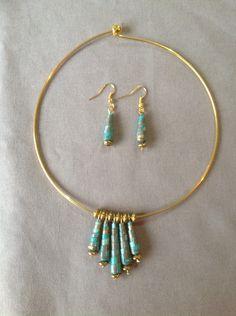 Elégante parure bleu lagon, collier et boucles-d'oreilles perles papier : Parure par les-surprises-de-noh-lim