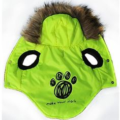 Footprint Pattern Cotton-Padded Hoodies Vest for Pets Dogs (Green Assorted Sizes)