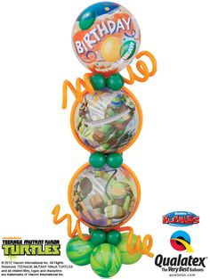 This Column features Teenage Mutant Ninja Turtles Bubble Balloons with SuperAgate® latex balloons. The coolest way to celebrate a birthday! #tmnt #ninja #turtle #nickelodeon #qualatex
