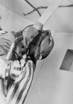 A prisoner who has been subjected to low pressure experimentation. For the benefit of the Luftwaffe, air pressures were created comparable to those found at meters in altitude, to determine how high German pilots could fly and survive. Lest We Forget, National Archives, Interesting History, Photo Archive, World War Two, Wwii, Prisoner, Luftwaffe, Blanco Y Negro