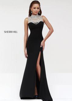 2b1bb0279ea Sherri Hill 21355 - Black Silver Beaded Jersey Prom Dresses Online   thepromdresses Open Back