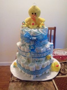 A ducky diaper cake that my friend made for my baby shower