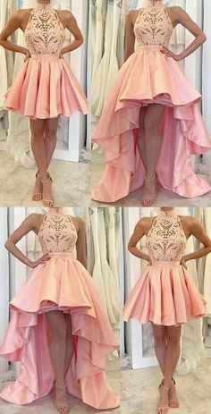 A-line Homecoming Dresses,Pink Homecoming Dresses,Applique Homecoming Dresses,High-low Homecoming Homecoming Dresses High Low, Cute Prom Dresses, Grad Dresses, Trendy Dresses, Evening Dresses, Fashion Dresses, Short Prom, High Low Formal Dresses, 15 Dresses Pink