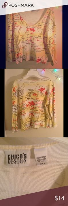 Chico Design Women's Floral Knit v-neck 3/4 sleeve Casual size 0 ,100%cotton Chico's Tops Blouses