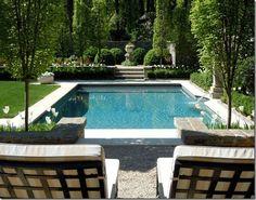 Steps the width of pool