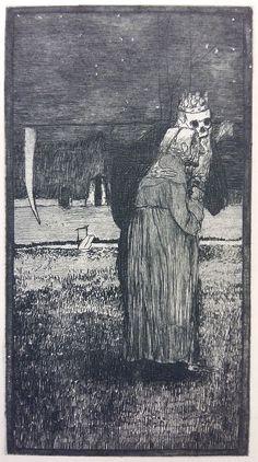 Museal ! Heinrich VOGELER (1872-1942) Original Radierung Rief-Nr. 11 : Tod und..