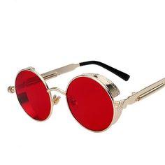 Buy Round Metal Sunglasses Steampunk Men Women Fashion Glasses Brand Designer Retro Vintage Sunglasses at Wish - Shopping Made Fun Round Face Sunglasses, Retro Sunglasses, Gold Sunglasses, Sunglasses Price, Sunglasses Accessories, Men's Accessories, Celebrity Sunglasses, Summer Sunglasses, Mirrored Sunglasses