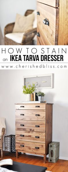 Most current Photographs How to Stain an Ikea Tarva Dresser - Dresser - Ideas of Dresser - Ikea. Tips In several dormitories Ikea bedrooms are very happy to be seen, as they provide numerous solutions f Plywood Furniture, Diy Nursery Furniture, Refurbished Furniture, Home Furniture, Furniture Design, Furniture Stores, Furniture Removal, Farmhouse Furniture, Mobile Design