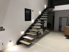 Loft Staircase, Interior Staircase, Floating Staircase, House Stairs, Staircase Design Modern, Modern Design, Villa Design, House Design, Stone House Plans
