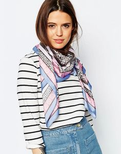 Image 1 of ASOS Pastel Leopard Poly Satin Scarf