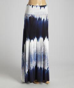 Blue & White Tie-Dye Maxi Skirt