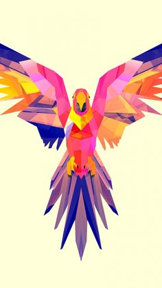 640x1136 Обои попугай, вектор, рисунок, яркий, окрас